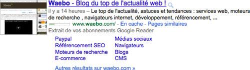 Google : Extrait de vos abonnements Google Reader