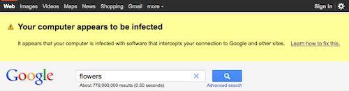 Google : Alerte de malware
