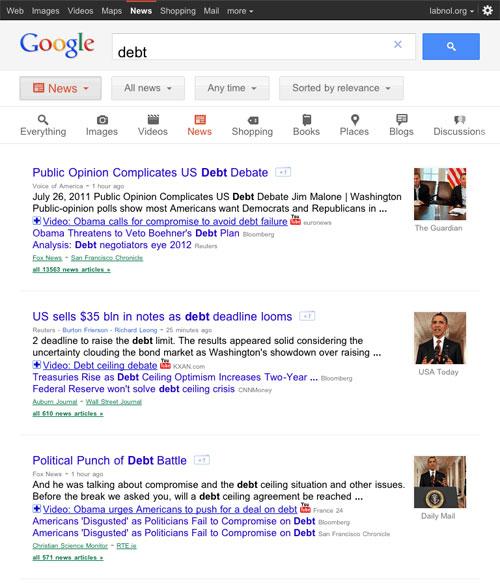 Google News : Interface utilisateur pour tablette tactile