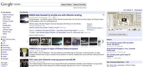 Google News : Interface utilisateur