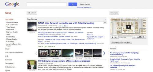 Google News v2 : Interface utilisateur