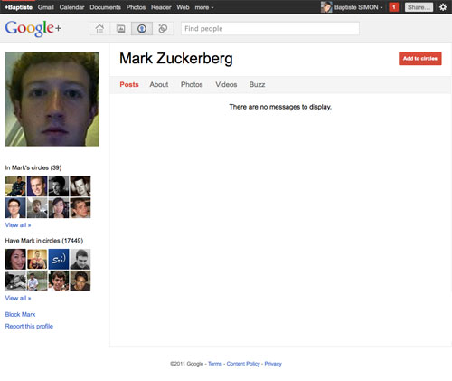 Google Plus : Mark Zukerberg