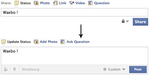 Facebook : Formulaire de publication de statut