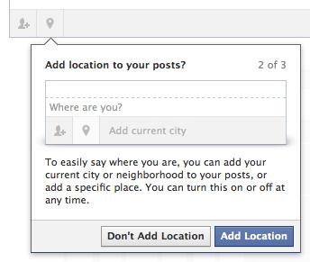 Facebook : Statut - Localisation