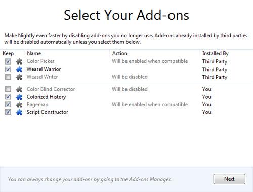 Firefox 8 : Désinstallation d'extensions