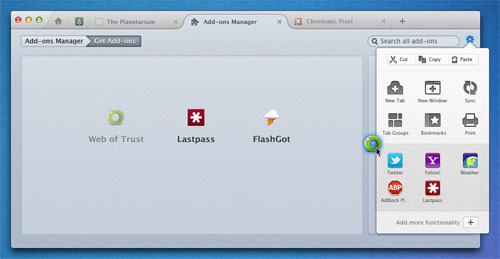Firefox Australis Mac AddOnDrag