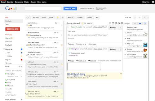 Gmail : Volet d'apercu