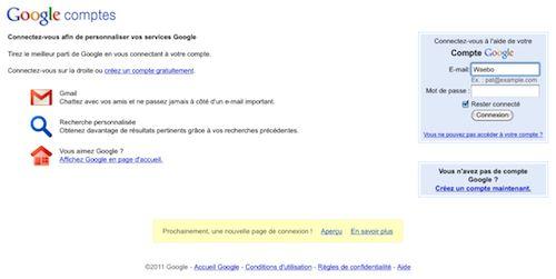 Google : Ancienne page d'authentification