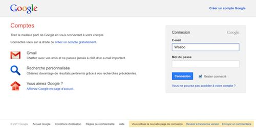 Google : Nouvelle page d'authentification