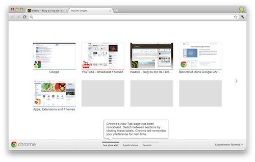 Google Chrome 14 : Interface utilisateur de nouvel onglet