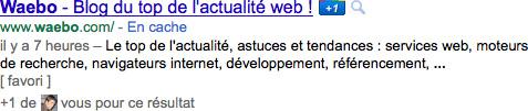 Google : [ favori ] dans les pages résultats