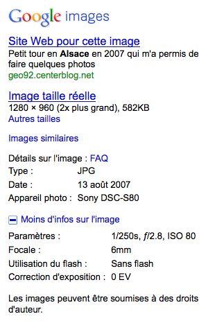 Google Images : Données EXIF, autres tailles et images similaires