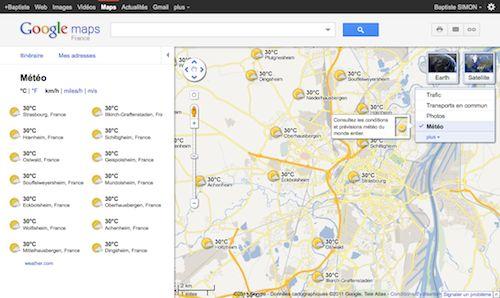 Google Maps : Météo
