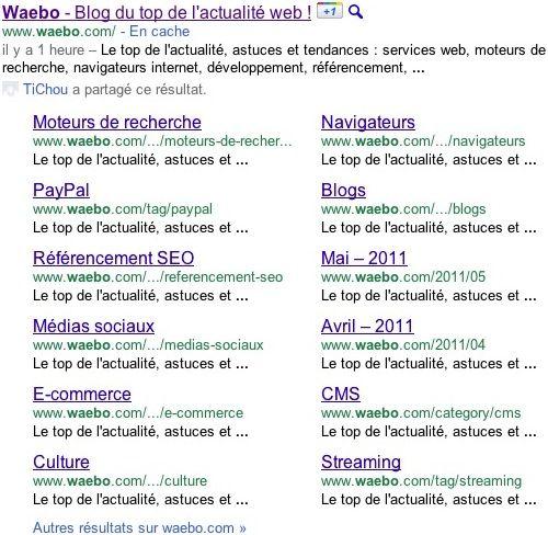 Google : Megasitelinks