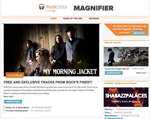 Google Music Beta Magnifier
