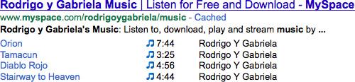 Google : Rich snippets de musique
