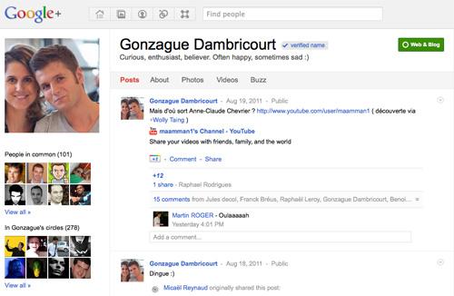 Google Plus : Compte vérifié