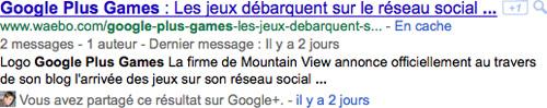 Google Plus : Partages dans les pages de résultats