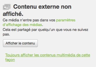 Twitter : Contenu externe non affiché