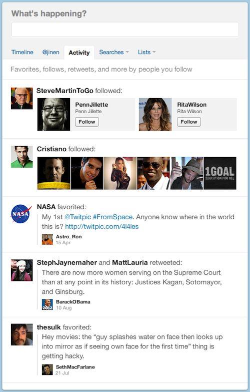 Twitter : Onglet de l'activité