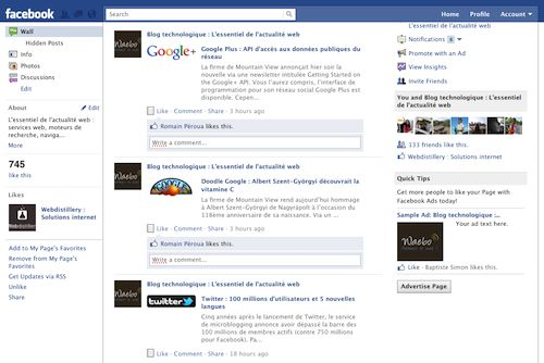 Facebook : Barre de navigation fixe