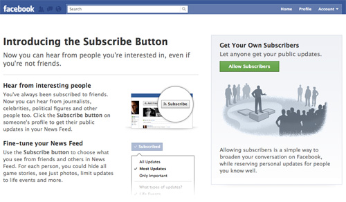 Facebook : Bouton s'abonner