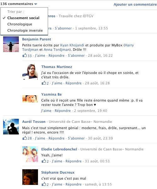 Facebook : Classement social des commentaires
