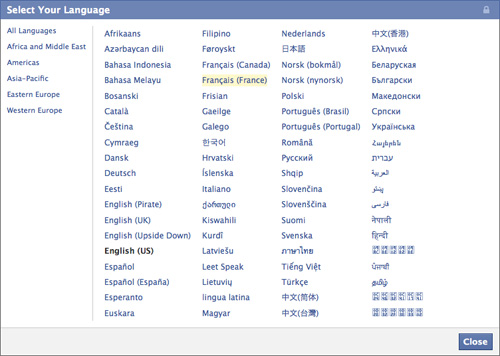 Facebook : Langues et continents