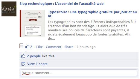 Facebook : Compteur Like & Share
