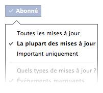 Facebook : Détails du bouton s'abonner sur le profil