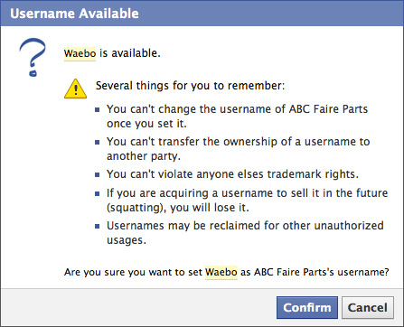 Facebook : URL personnalisée de pages fans