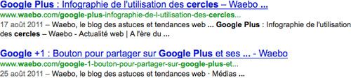 Google : Impression de deux résultats