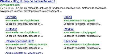 Google : Impression d'un résultat avec sitelinks