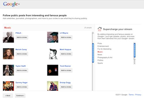 Google Plus : Suggestions de personnes/comptes