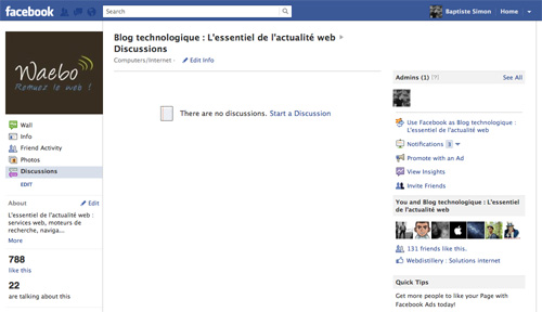 Facebook : Discussions