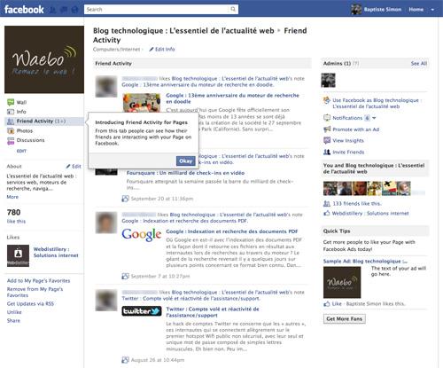 Facebook : Activité des amis d'une page fans