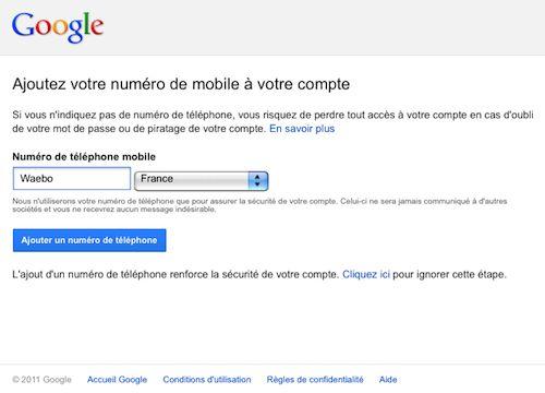 Google : Ajoutez votre numéro de mobile à votre compte