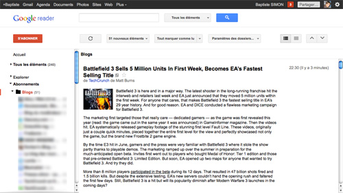 Google Reader : Nouvelle interface utilisateur