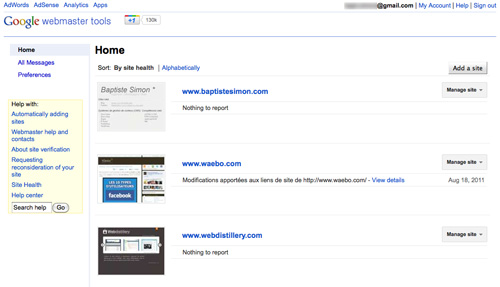 Google Webmaster Tools : Nouvelle interface