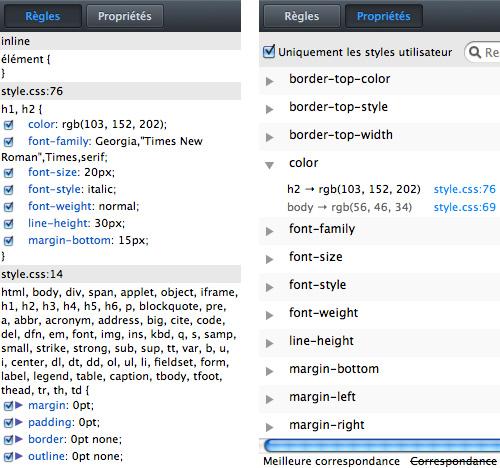 Firefox : Outils pour développeurs - Styles CSS (Règles et Propriétés)
