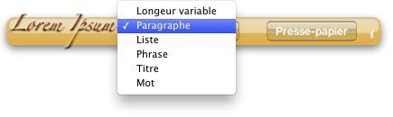 Lorem Ipsum : Widget Mac OS X
