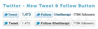 Twitter : Nouveaux boutons Tweeter & Suivre
