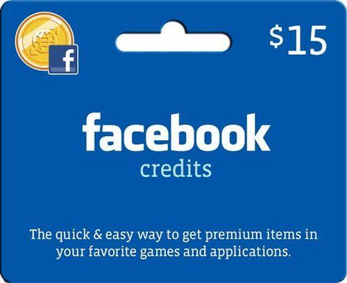 Facebook Credits : Cartes cadeaux prépayées