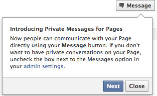 Facebook : Private Messages for Pages