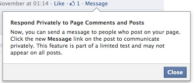 Facebook : Respond Privately to Page Comments and Posts