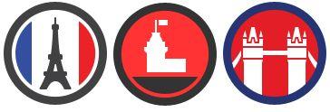 Foursquare : Badges Villes - Paris, Istamboul et Londres