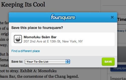 Save this place to Foursquare ?