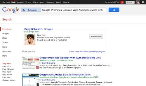 Google : Page de résultats auteur