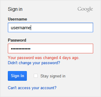 Google : The password was changed
