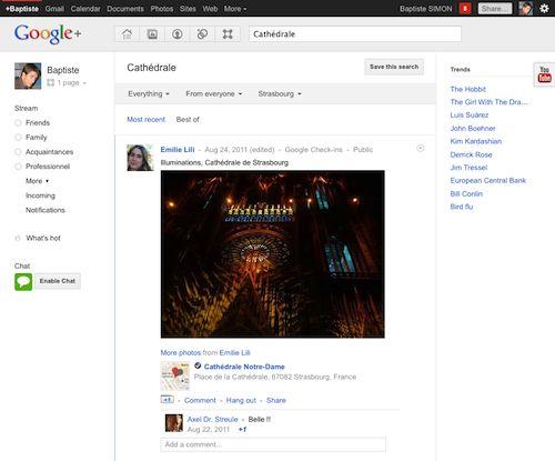 Google Plus : Recherche avec localisation